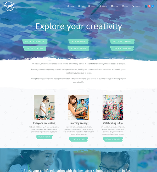 Create Art Studio Website
